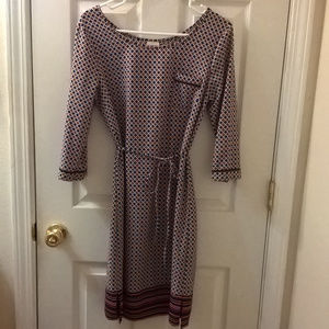 Merona Red and Blue 3/4 Sleeved Dress XS